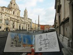 Piazza Navona travel sketchbook by Filip Fichtel