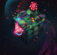 Cubiverse - Space Jellyfish by Simone Mändl Isometric Art, Isometric Design, Pixel Art Games, Environment Concept Art, Environment Design, Video Game Art, Art Portfolio, Fantasy Art, Fantasy Places
