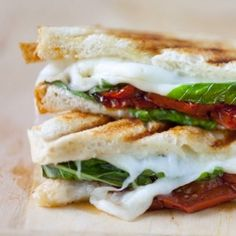 Caprese Grilled Cheese Sandwich with Balsamic Roasted Tomatoes.