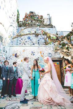 Incredible Queer Wedding at Philadelphia's Magic Gardens · Rock n Roll Bride Lesbian Wedding, Chic Wedding, Wedding Blog, Destination Wedding, Wedding Venues, Wedding Destinations, Wedding Stuff, Lesbian Couples, Wedding Ceremonies