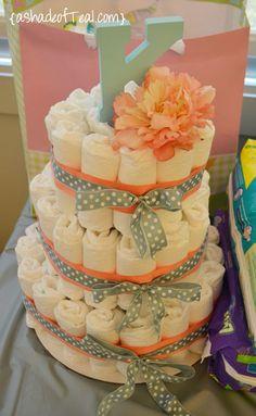 simple diaper cake!                                                                                                                                                                                 More