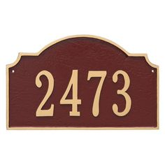 Montague Metal Vanderbilt Estate Address Sign Wall Plaque - PCS-0060E1-W-GS