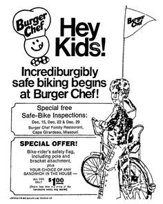Burger Chef Bicycle Flag - December 1973 70s Food, Retro Food, Vintage Newspaper, Vintage Ads, Shelbyville Indiana, Life In The 1950s, Cape Girardeau, Vintage Restaurant, Retro Recipes