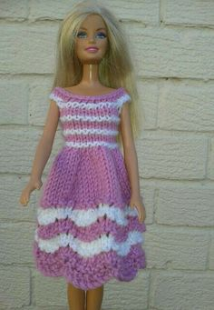 Pink and white knitted dress using barbie halloween outfit pattern on ravelry Knitting Dolls Clothes, Crochet Barbie Clothes, Doll Clothes Barbie, Barbie Dress, Barbie Doll, Pink Dress, Crochet Barbie Patterns, Knitted Doll Patterns, Barbie Clothes Patterns