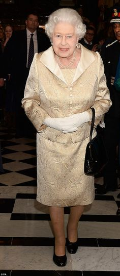 The Queen, 89, arrives at the Gold Service Scholarship awards ceremony at Claridge's Hotel...