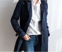 Navy topcoat.