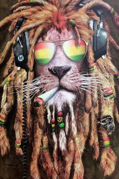 Rasta Pothead Lion Framed Lenticular Picture- Unbelievable Life Like Art Pictures, Lenticular Posters, Cool Art Deco, Unique Wall Art Decor, With Dozens to Choose From! Art Rasta, Rasta Lion, Bob Marley Kunst, Bob Marley Art, Bob Marley Lion, Rasta Tattoo, Reggae Art, Reggae Music, Dope Wallpapers