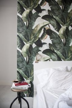 Cosy bedroom detail with my favorite 'botany' wallpaper.