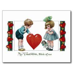 Kind, Hond en de Grote Vintage Valentijnskaart van Wenskaarten