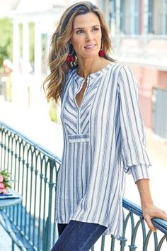 Soft Surroundings' women's tunic tops & sweaters incorporate soft fabrics & global styling to create a fabulous look. Shop our collection of women's tunics! Kurta Designs, Blouse Designs, Dress Designs, Mode Outfits, Casual Outfits, Fashion Outfits, Elegant Outfit, Modest Fashion, Fashion Details
