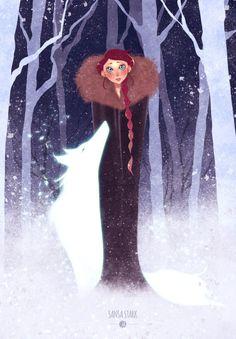 Sansa Stark + Lady by Joliet on DeviantArt Game Of Thrones Funny, Game Of Thrones Art, The Winds Of Winter, Fanart, Kings Game, Female Dragon, House Stark, Sansa Stark, Cool Stuff