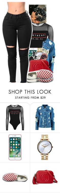 """Untitled #2355"" by txoni ❤ liked on Polyvore featuring Topshop, Boohoo, Nixon, Vans and Gucci"