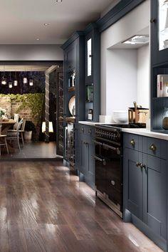 Dark Blue Kitchen Cabinets, Dark Kitchen Floors, Dark Blue Kitchens, Grey Kitchen Floor, Grey Cabinets, Modern Farmhouse Kitchens, Home Kitchens, Coastal Kitchens, Condo