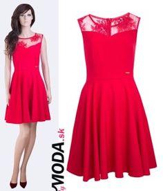 a95bae633898 Červené krátke spoločenské šaty - trendymoda.sk