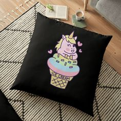 'ice cream unicorn' Floor Pillow by remuseeel Iphone Wallet, Floor Pillows, Unicorn, My Arts, Reusable Tote Bags, Ice Cream, Art Prints, Printed, Awesome
