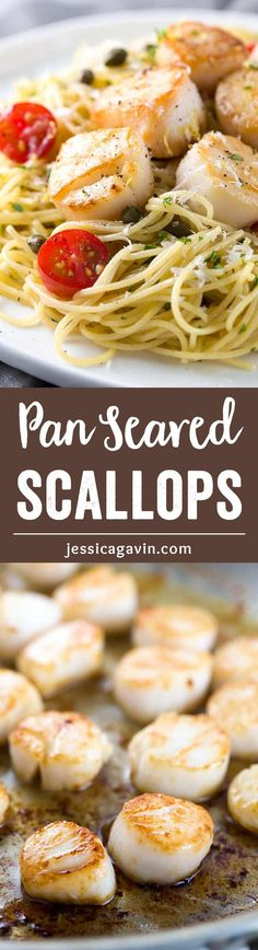 Pan Seared Scallops with Lemon Caper Pasta - Easy gourmet recipe for light angel hair pasta tossed with a citrus white wine sauce and tomatoes. via @foodiegavin