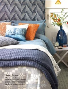 Moody blue bed linen and tangerine tones create a stunning scheme. Fill an indigo vase with foliage and hang an amber glass pendant for glowing highlights. Blue Orange Bedrooms, Orange Bedroom Decor, Orange Bedding, Blue Bedding, Blue Bedroom, Dream Bedroom, Bedding Sets, Master Bedroom, Aesthetic Bedroom