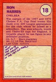 1974-75 A&BC Gum #18 Ron Harris Back Chewing Gum, Chelsea Fc, School Boy, Trading Cards, Picture Cards, Chelsea F.c., Gumball