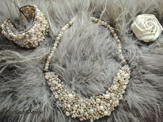 Wedding Necklace and bracelet with pearl