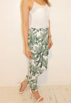 Khaki Palm Printed Trousers