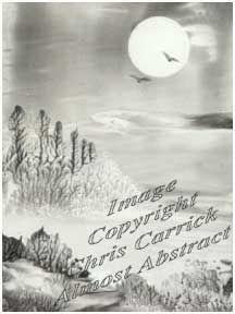 Оригинальная работа - черно-белый пейзаж в лунном свете