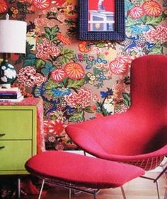 """Shawn Colvin calls her home """"Eclectic Chaos"""".  I love the colors and this wallpaper."""