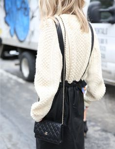 Chanel wallet on chain + chunky knitwear/sweater #streetstyle