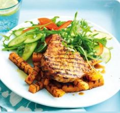 Spanish pork with spiced sweet potato chips | Nutrition Australia