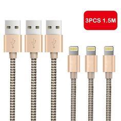 OTISA 3Pack 1.5m Nylon iPhone Datenkabel Verbindungskabel USB Kabel mit Lightning Stecker Ladekabel für Apple iPhone 6 Plus/6 /5/5S/6s iPad 4 iPad Mini/Air iPod 5 und iPod7 Arbeitet mit neuesten iOS-Update (GOLD), 13,95 Euro