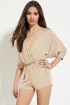 FOREVER 21 Dolman-Sleeve Surplice Romper $22.90 WOMENS - Clothing | WOMEN | Forever 21