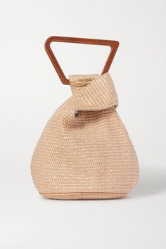 Tan canvas and leather Open top Weighs approximately Designer color: Natural Tan Comes with dust bag Hunza G, Tan Shoulder Bag, Mini Canvas, Natural Tan, Summer Bags, Abstract Shapes, Wooden Handles, Gaia, Tote Handbags