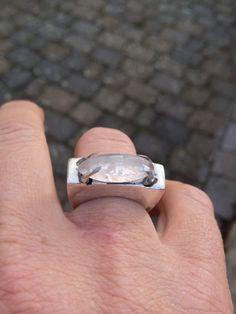 Silver ring with a rose quartz. Handmade