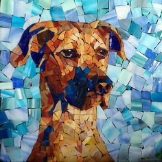 Glass Mosaic Custom Pet Portrait 15 x15 Great Dane by PiecefulArts