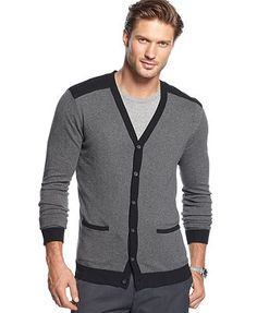 Alfani Big and Tall Sweater, V-Neck Colorblocked Cardigan