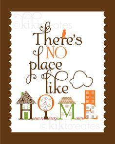 There's No Place Like Home Print by kikicomin on Etsy Peace Quotes, Home Quotes And Sayings, Home And Deco, Messages, Word Art, Favorite Quotes, Favorite Things, Decoupage, Illustration