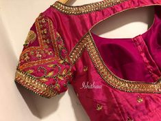 Indian bridal blouse design ideas for women and weddings with silk sarees. Kundans, cut beads and frenchknots. 😍 our all time favourite 'The elephant' too ! Custom made blouse for dear Nadhiya . Blouse Back Neck Designs, Silk Saree Blouse Designs, Choli Designs, Saree Blouse Patterns, Bridal Blouse Designs, Silk Sarees, Maggam Work Designs, Stylish Blouse Design, Designer Blouse Patterns
