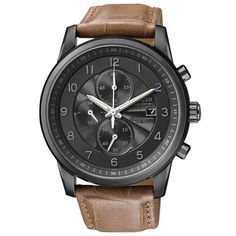 @Overstock - Internationally recognized and respected, this Citizen Men's 'Eco-drive' Timepiece features a classic style and a refined feel. This watch has a reliable quartz movement, a sleek black dial and is finished with brown leather strap.http://www.overstock.com/Jewelry-Watches/Citizen-Mens-Eco-drive-Leather-Strap-Chronograph-Watch/7157599/product.html?CID=214117 $243.75