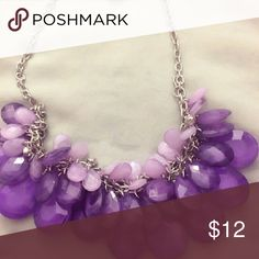 Purple Purple beaded with silver chain Jewelry Necklaces