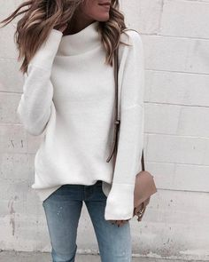 Frauen Langarm Rollkragen Solide Pullover - Women's Clothing - Minimalismus İdeen Style Désinvolte Chic, Style Casual, Casual Chic, Casual Outfits, Winter Outfits, Teen Outfits, Black Women Fashion, Look Fashion, Fashion Outfits