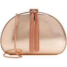 Ted Baker Hartly Glitter Clutch , Rose Gold ($225) ❤ liked on Polyvore featuring bags, handbags, clutches, rose gold, beige purse, ted baker, evening purse, chain purse e imitation purses