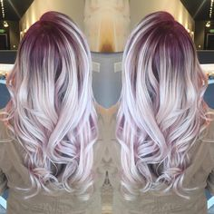 Pin by heather poitras on hair hair color pink, hair styles, Blonde Hair Purple Roots, Hair Color Pink, Hair Color And Cut, Pink Hair, Blonde Hair With Color, Gray Hair, Silver Hair Colors, Love Hair, Gorgeous Hair