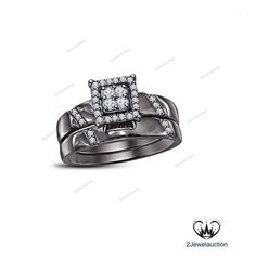 1.00 CTW Round D/VVS1 Diamond Prongs With 14k Black Gold Women's Bridal Ring Set…
