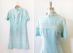 60s light blue lace dress / 1960s blue linen by RustBeltThreads