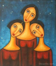 3 Three Sisters Large Oil Painting On Canvas An Abstract Modern Art Wall Decor
