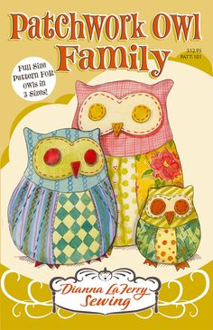 Stuffed+owl+pattern+for+patchwork+owls+in+3+sizes+by+diannalaferry,+$12.95
