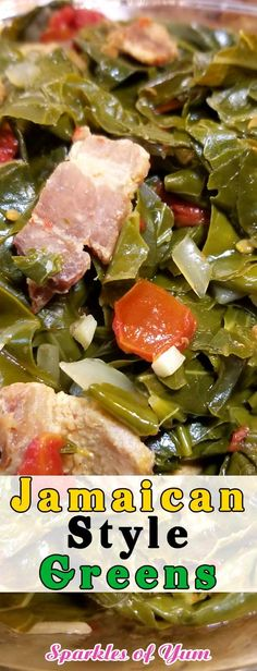Jamaican Style Greens - Absolutely delicious, and will definitely be a staple in our household! Jamaican Cuisine, Jamaican Dishes, Jamaican Food Recipes, Jamaican Curry, Carribean Food, Caribbean Recipes, Jamican Recipes, Jamacian Food, Collard Greens Recipe