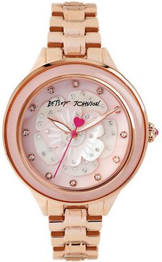 Betsey Johnson Ladies Rose Gold-Tone Flower Motif Bracelet Watch