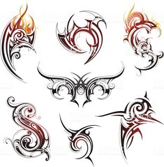 Find Tribal tattoo set Stock Images in HD and millions of other royalty-free stock photos, illustrations, and vectors in the Shutterstock collection. Trible Tattoos, Tattoo Tribal, Tribal Tattoo Designs, Tribal Dragon Tattoos, Tribal Drawings, Tattoo Drawings, Arte Tribal, Tribal Art, Tattoo Courses