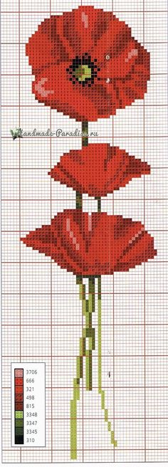 Cross stitch - Free patterns and Tutorials: Large collection of cross-stitch poppies . - Cross stitch – Free Patterns and Tutorials: Large collection of cross-stitch poppies - Cross Stitch Bookmarks, Cross Stitch Charts, Cross Stitch Designs, Cross Stitch Patterns, Loom Patterns, Cross Stitching, Cross Stitch Embroidery, Hand Embroidery Patterns, Cross Stitch Flowers