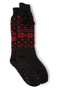 Deb Shops Cable Knit Fair Isle Print Sock with Pom Poms $5.00